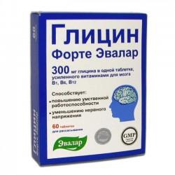 Глицин форте Эвалар, табл. д/рассас. 300 мг / 0.6 г №60